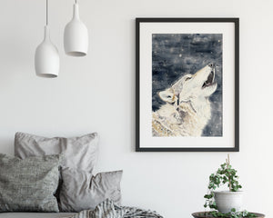 Howling Wolf fine art watercolour print - alpine home decor wall art, gift for a teenage boy, game of thrones fan art