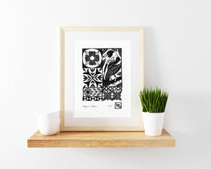 Magpie Linoprint, mosaic linocut, printed by hand, block printed, kids room decor, magpie art print, handmade bird art, garden linoprint