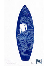 Load image into Gallery viewer, Boho mermaid surfboard design Linocut print, beach house wall art home decor - gift for a surfer or oceanlover
