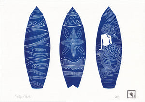 Surfboards Linocut print fathers day gift - beach house wall art home decor, gift for a surfer or ocean lover