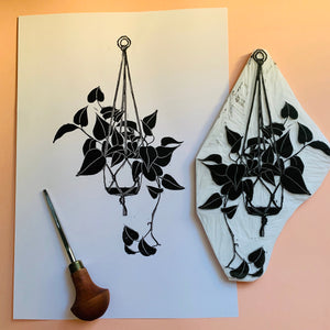 Philodendron Cordatum - limited edition linocut print