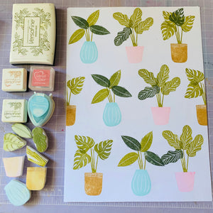 Tropical Pot Plants - Handmade Rubber Stamp Set