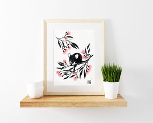 Possum linoprint, gum flowers linocut, kawaii wall art, limited edition, art for kids room, possum nursery decor, christening gift