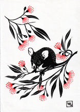 Load image into Gallery viewer, Possum linoprint, gum flowers linocut, kawaii wall art, limited edition, art for kids room, possum nursery decor, christening gift