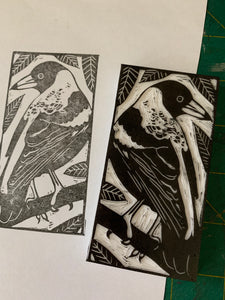 Magpie linocut print, Australian bird art, limited edition handmade linoprint, handprinted, hand carved wall art, country house decor