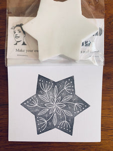 Floral Star - Handmade Rubber Stamp