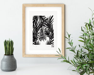 Jungle tiger linocut print, wild animal handmade linoprint, limited edition, kids room wall art, tropical wall decor, big cat block print