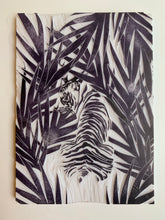Load image into Gallery viewer, Jungle tiger linocut print, wild animal handmade linoprint, limited edition, kids room wall art, tropical wall decor, big cat block print