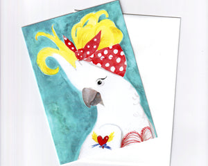 Funny bird art greeting card set, watercolour illustration, blank card set, cockatoo card set, bird character art