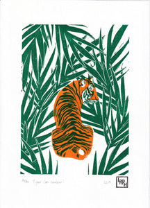 Tiger en couleur - limited edition handmade linoprint