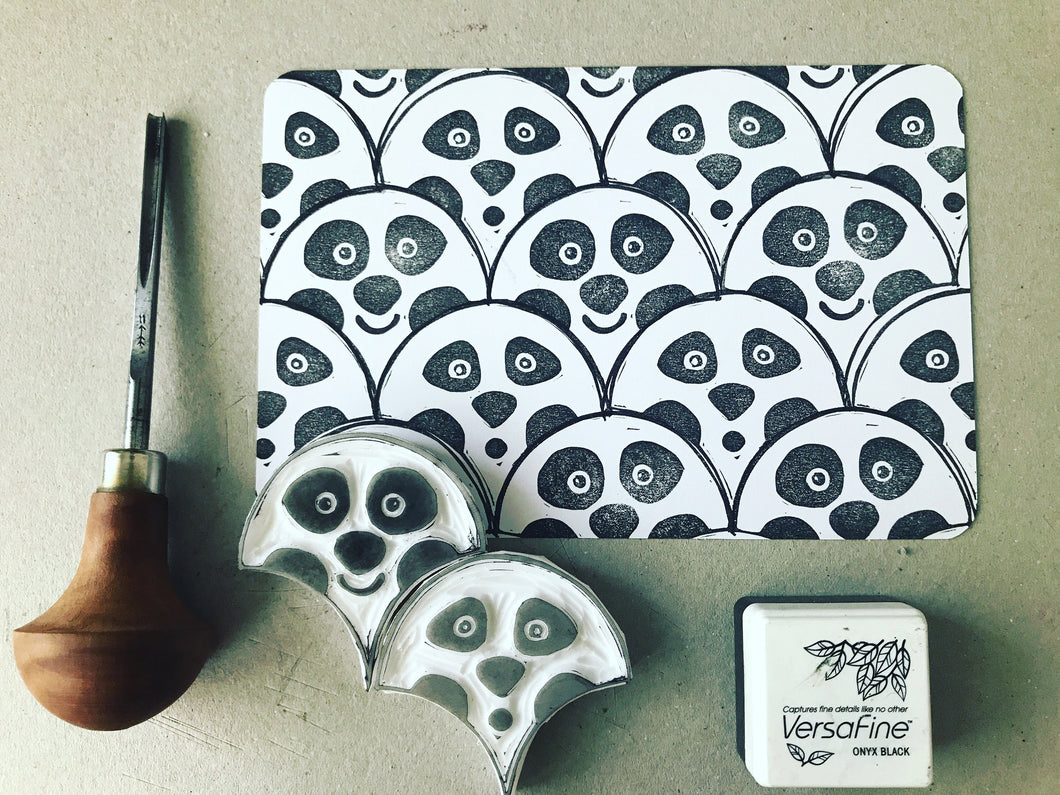 Pandas - hand-carved stamp set, tessellated stamp