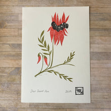 Load image into Gallery viewer, Sturt Desert Pea - A5 Linocut Print