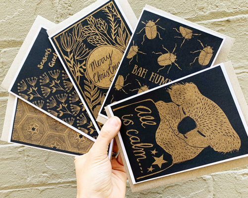 Gold and Black - Risoprinted Christmas Card Set