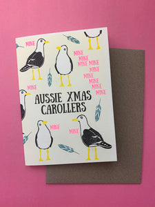 Funny Australian Christmas card set, Oz xmas cards, nontraditional Aussie Christmas, Risoprinted card set, Riso xmas card, summer xmas cards
