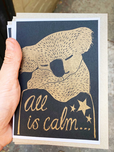 All is Calm - Risoprinted Australian Christmas Card
