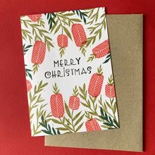 Load image into Gallery viewer, Hand printed Christmas card featuring native Australian Bottle Brush flowers