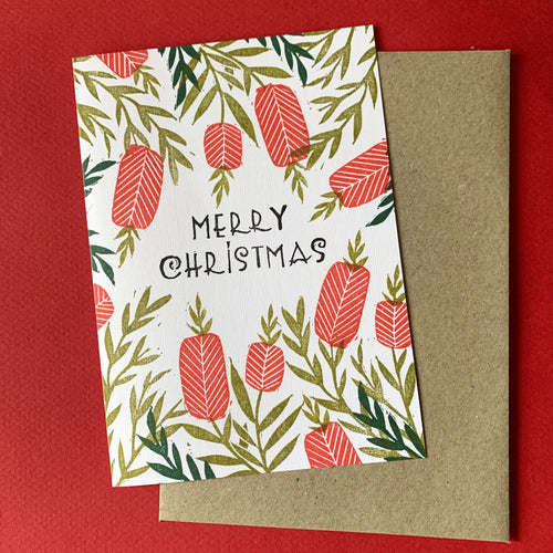 Hand printed Christmas card featuring native Australian Bottle Brush flowers
