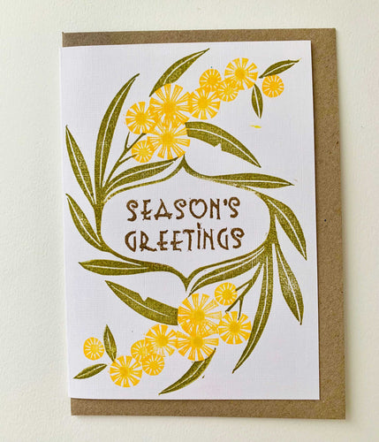 Golden Wattle -  Linoprinted Australian Christmas Card