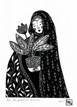 Load image into Gallery viewer, Folk art linoprint, woman linocut print, female art print, gift for daughter, boho gift, limited edition art.