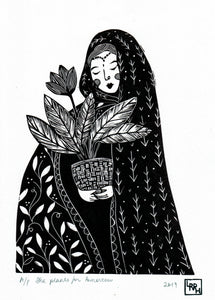 Folk art linoprint, woman linocut print, female art print, gift for daughter, boho gift, limited edition art.