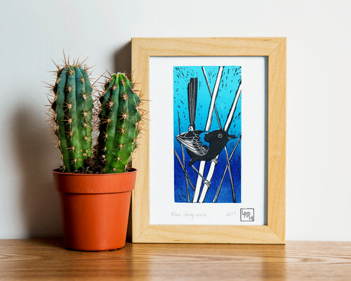 Blue wren linoprint, Australian native bird linoprint, hand printed artwork
