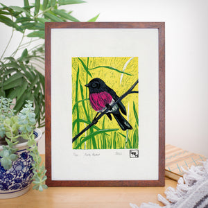 Pink Robin Reduction Print, Australian native bird artwork, Limited Edition Linoprint