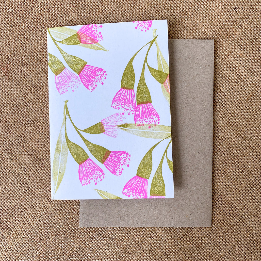 Australian native flowers gift card, Hand-printed gum flower greeting card, Handmade in Sydney