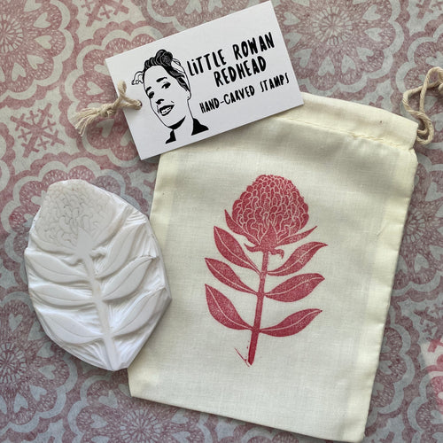 Hand carved Waratah stamp, Australian flower rubber stamp