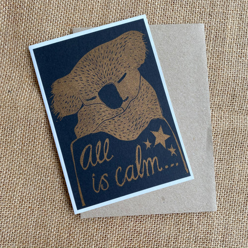 Gold Koala Christmas Card, Risoprinted Australian Christmas Card, Native Animal Card