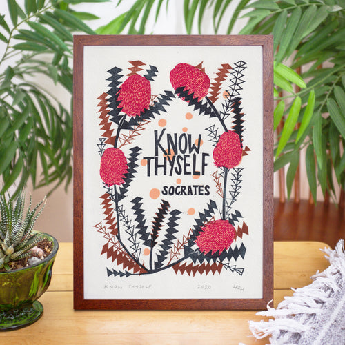 Know Thyself - Original four-colour A4 linoprint