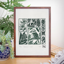 Load image into Gallery viewer, Kookaburra Garden - Australian wall art, original art, limited edition, linoprint, home decor