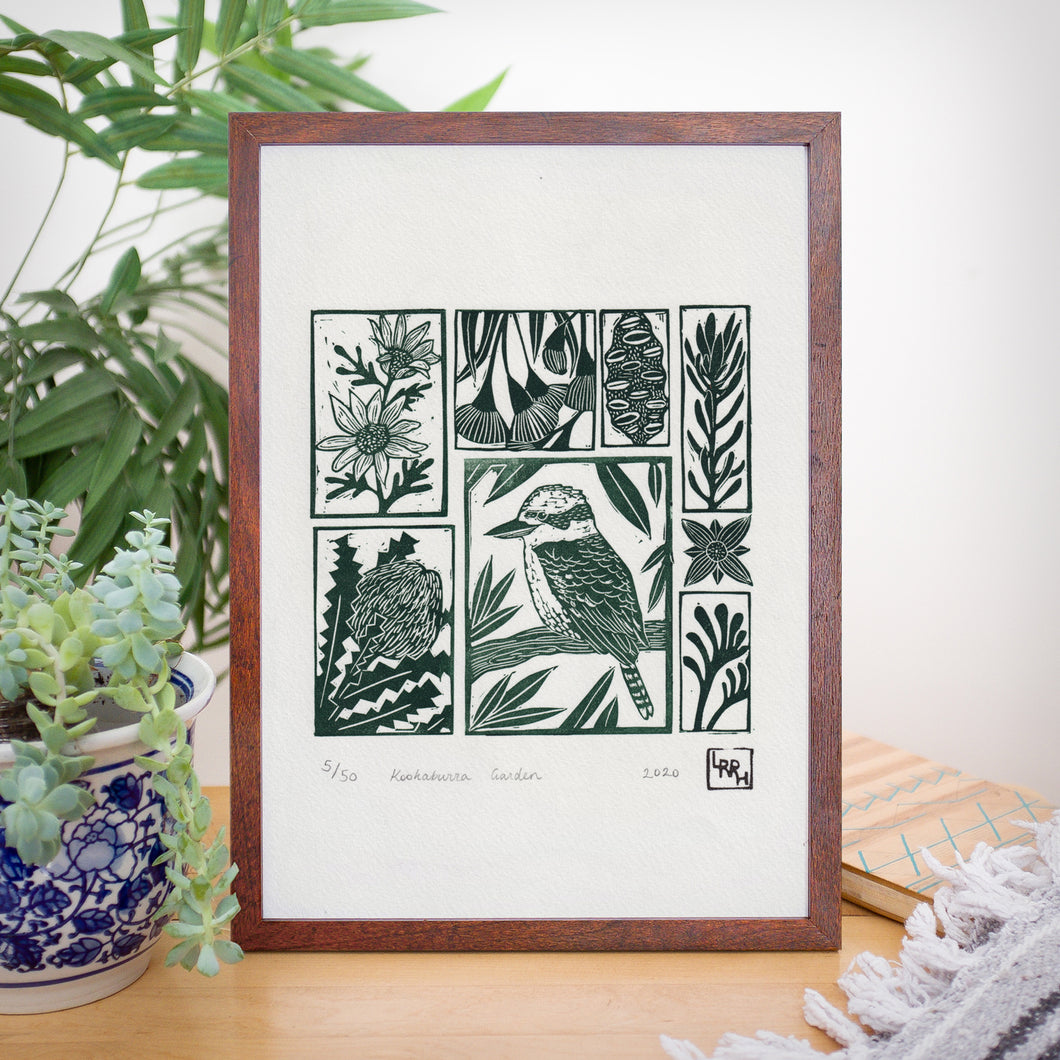 Kookaburra Garden - Australian wall art, original art, limited edition, linoprint, home decor