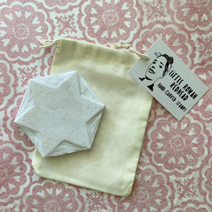 Large Christmas star hand carved rubber stamp