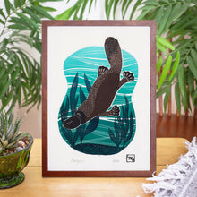 Load image into Gallery viewer, 'Platypus' Linoprint, handmade in Sydny