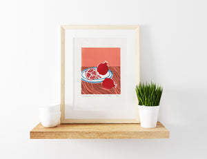 Pomegranate Still Life Linoprint, original artwork, handmade in Sydney