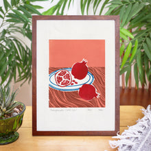 Load image into Gallery viewer, Pomegranate Still Life Linoprint, original artwork, handmade in Sydney