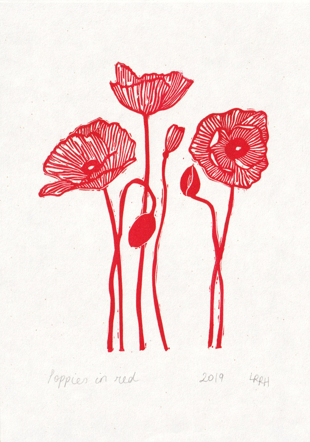 Poppies in Red Linoprint, original artwork, handmade in Sydney