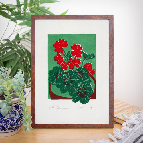 Potted Geraniums Linoprint, original artwork, handmade in Sydney