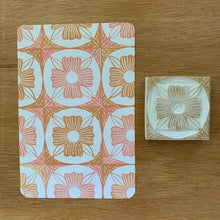 Load image into Gallery viewer, Mosaic flower tile rubber stamps - set of hand carved rubber stamps