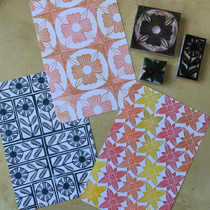Mosaic flower tile rubber stamps - set of hand carved rubber stamps