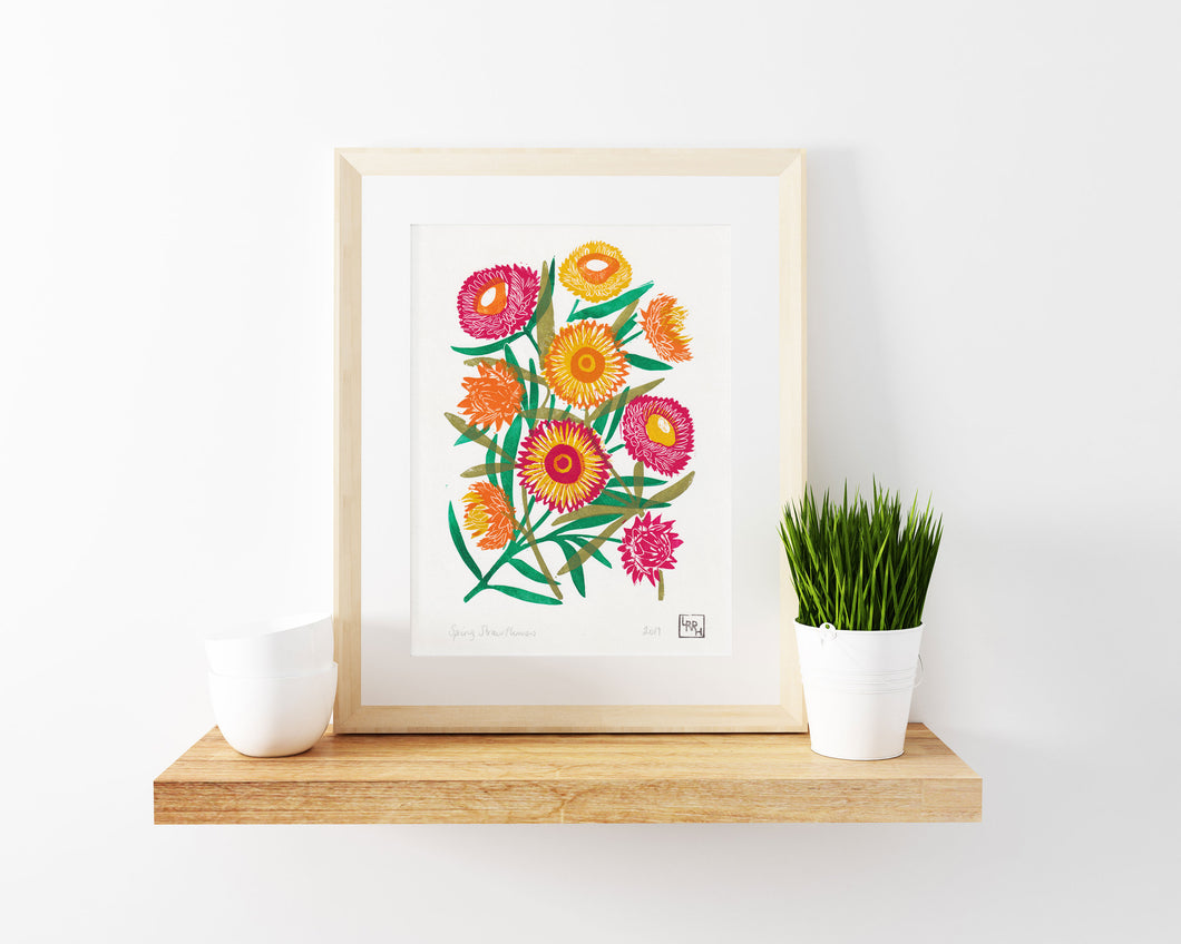 Spring Strawflowers - Original 5 layer Linoprint