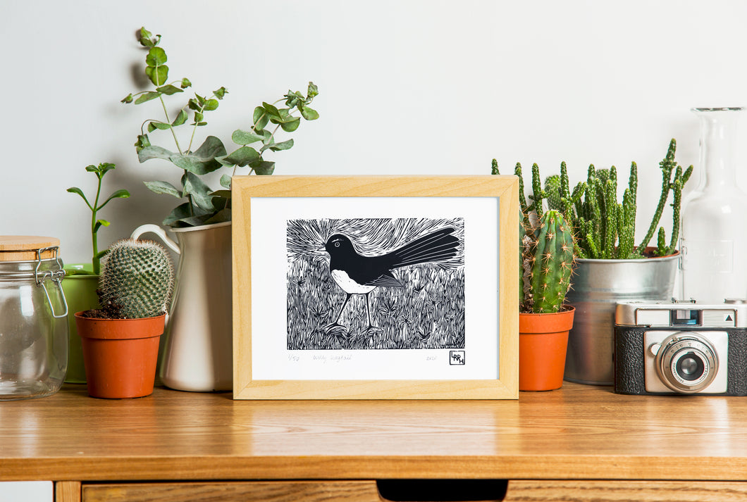 Willy Wagtail - Australian wall art, original art, limited edition, linoprint, home decor