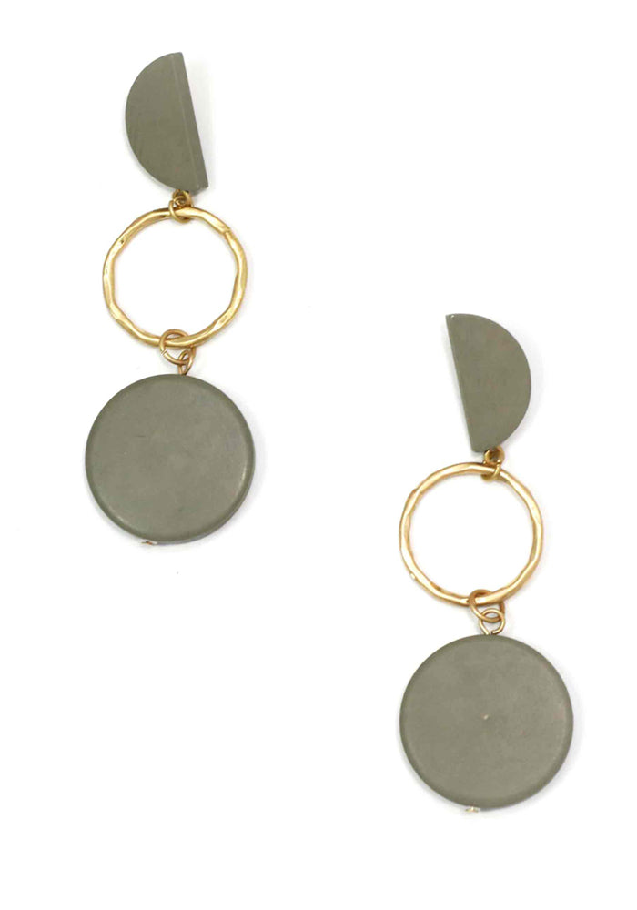 TIMBER GEO GREY EARRING - MATTE GOLD