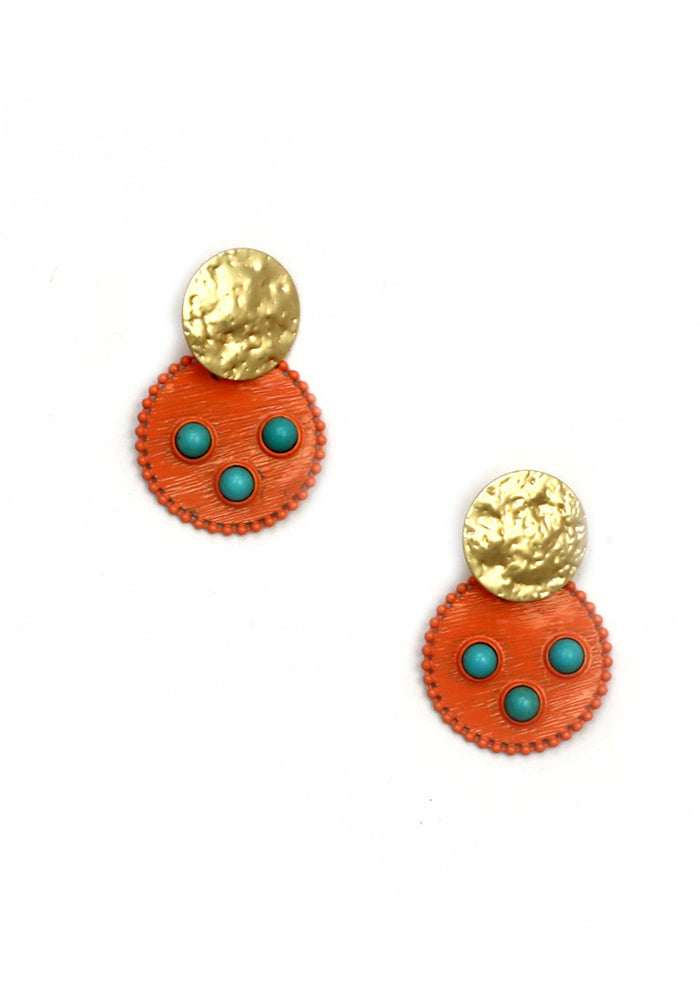 ROUND DISC EARRING WITH TURQUIOSE BEADS