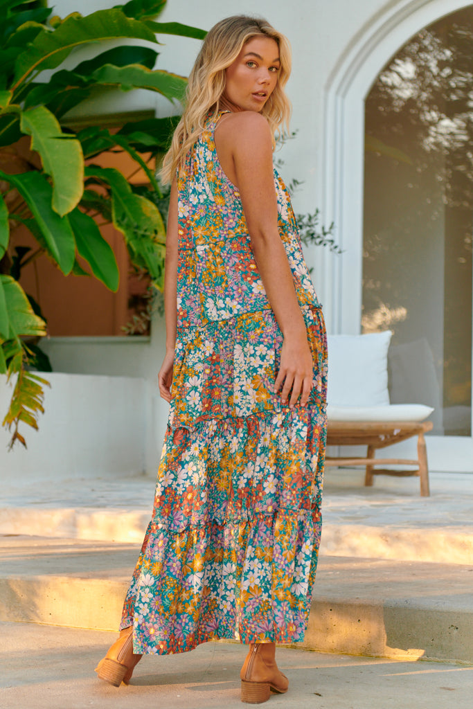 Load image into Gallery viewer, LIANA NAVY FLORAL PRINT MAXI DRESS