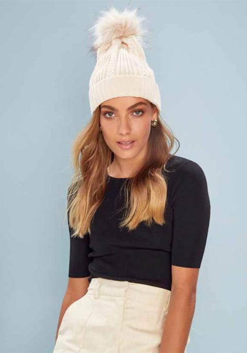 IVORY KNIT BEANIE WITH FUR POMPOM