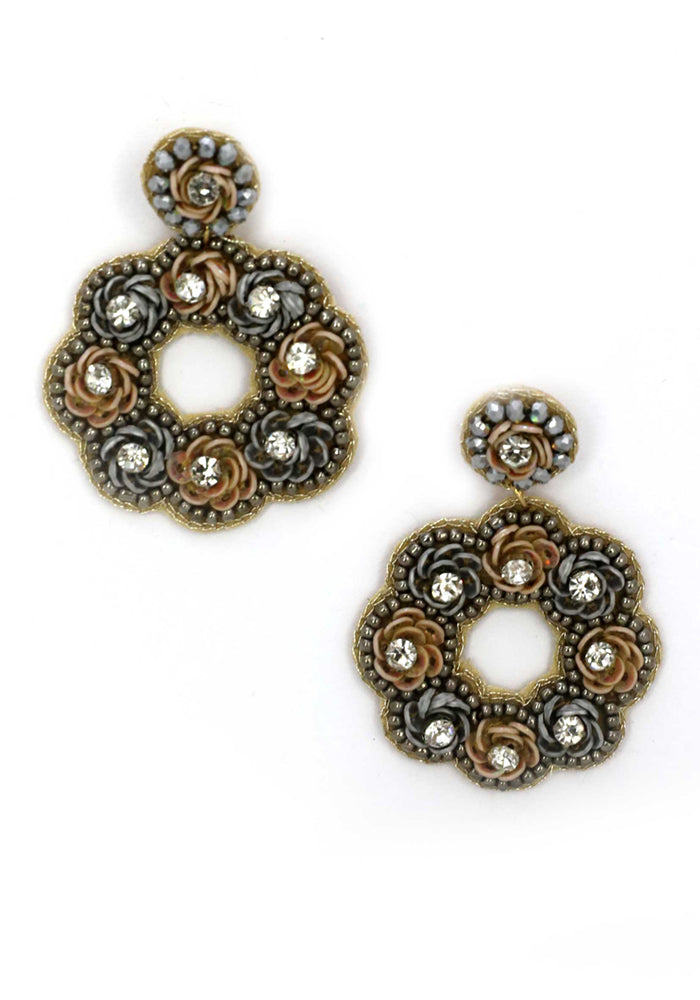 Load image into Gallery viewer, ROSE BUD DIAMANTE CIRCLE DROP EARRINGS