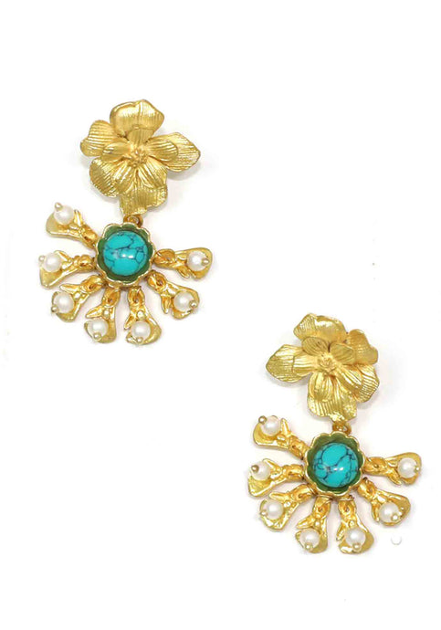 GOLD FLOWER DROP EARRING WITH TURQUOISE AND PEARLS