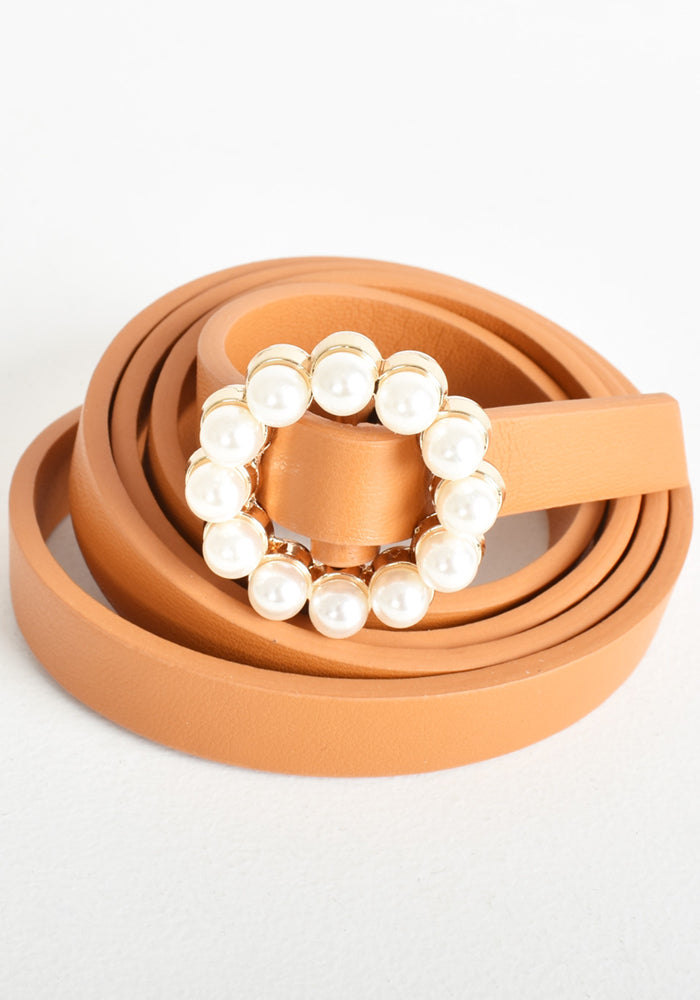 Load image into Gallery viewer, IVY PEARL BUCKLE BELT - TAN