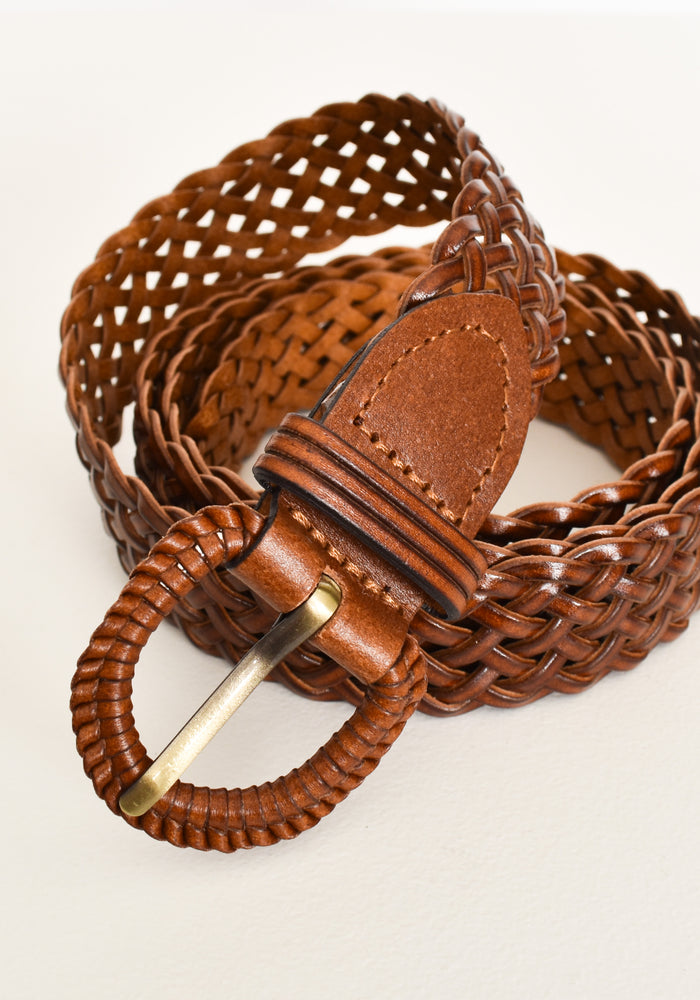 LEATHER MINI PLAIT BELT- TAN